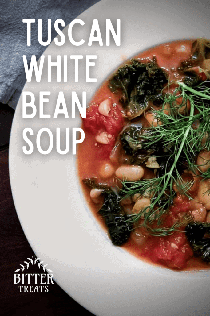 overhead photo of a bowl of tuscan white. bean soup garnished with fennel fronds