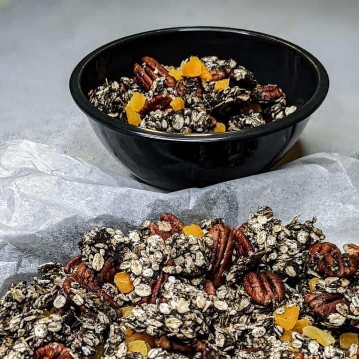 Photo of black sesame granola that is ready to serve