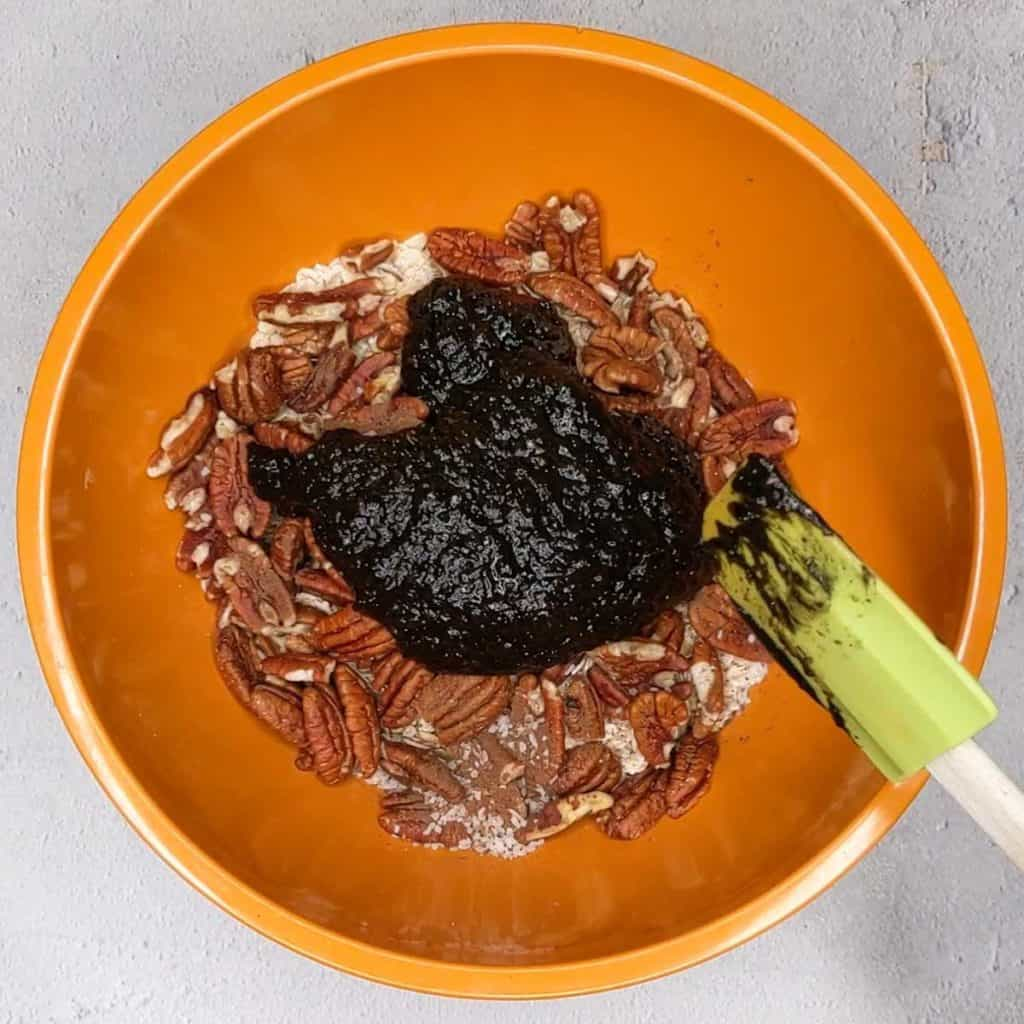 photo of combining wet and dry ingredients for